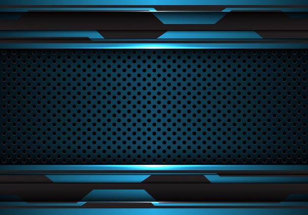 Preto azul futurista com fundo da malha do círculo do metal.