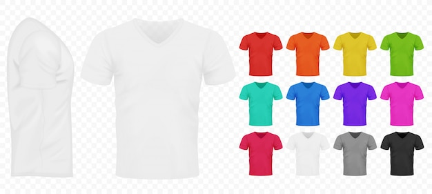 Preto, branco e outro conjunto de camisetas simples de homens de cor básica.