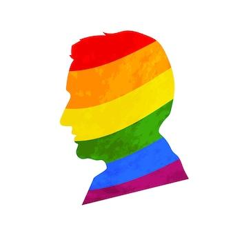 Preto detalhado, realista, perfil do rosto do homem com a bandeira do orgulho lgbt isolada no branco