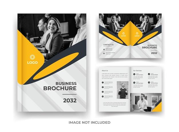 Preto e amarelo 04 página design de folheto de negócios e relatório anual e modelo de revista