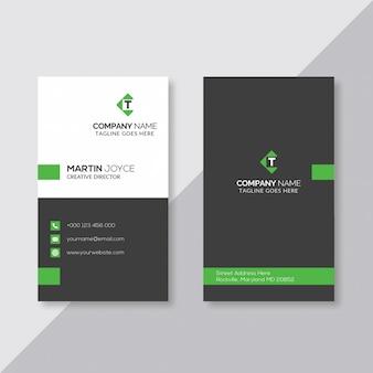Preto e branco com cartão vertical mínimo verde