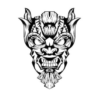 Preto e branco desenhado à mão ilustração tiki máscara tatuagens diabo indiano
