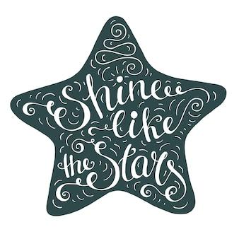 Preto e branco doodle cartaz de tipografia com estrela