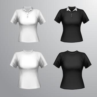 Preto e branco gola redonda e polo manga curta camisetas femininas conjunto isolado ilustração vetorial