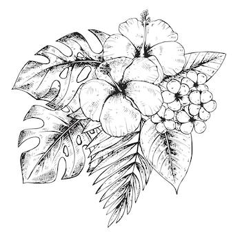 Preto e branco mão desenhada plantas tropicais gráficas