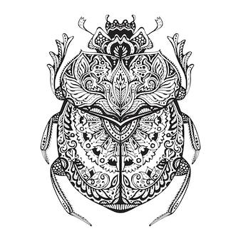 Preto e branco mão desenhada zentangle estilizado escaravelho.