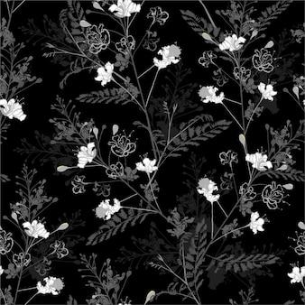 Preto e branco monocromático padrão sem emenda repetir em vetor de design floral de pavão desabrochando para moda, tecido, web, papel de parede, papel de embrulho e todas as impressões