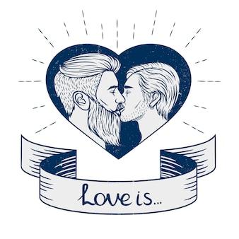 Preto e branco o casal homossexual está se beijando.