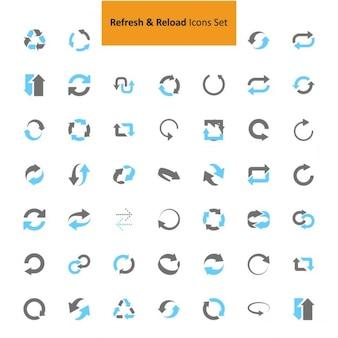 Preto e cinza actualizar conjunto de ícones