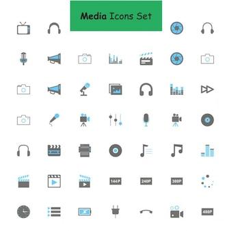 Preto e cinza de mídia conjunto de ícones