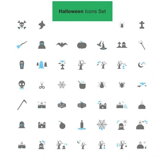 Preto e cinza halloween icon set