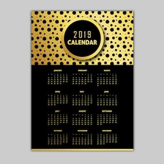 Preto e dourado 2019 modelos de calendário
