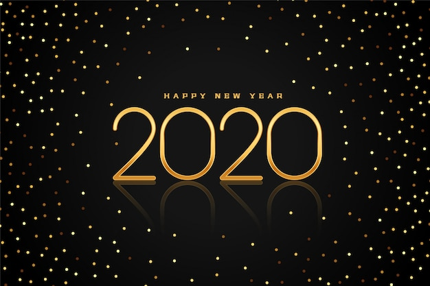 Preto e dourado glitter 2020 feliz ano novo cartão