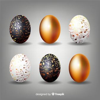 Preto e ouro coleção de ovos de páscoa dia