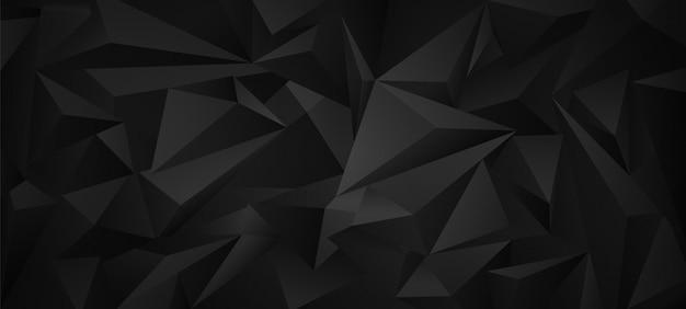 Preto escuro 3d baixo poli fundo geométrico.