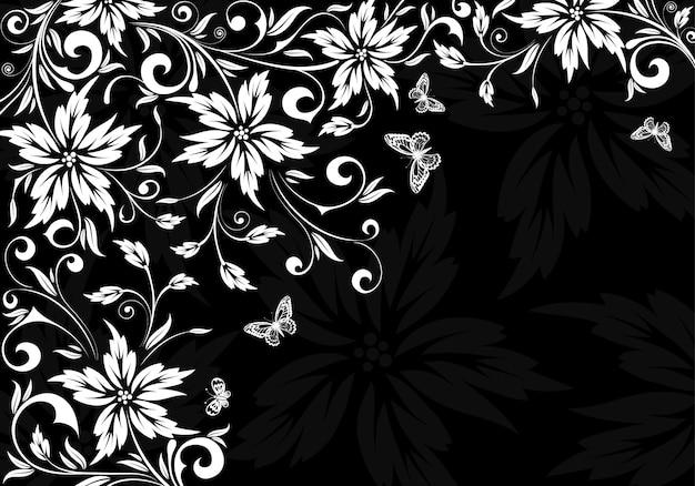 Preto floral e com fundo