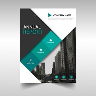Preto modelo de anúncio verde da capa do livro relatório anual