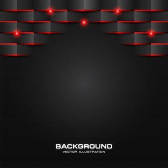 Preto padrão geométrico abstrato com luz vermelha brilhante