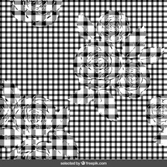 Preto padrão xadrez com flores