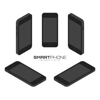 Preto telefone móvel de quatro lados ícone definir ilustração gráfica de vetor. vista isométrica da frente, atrás, direita, esquerda e superior.