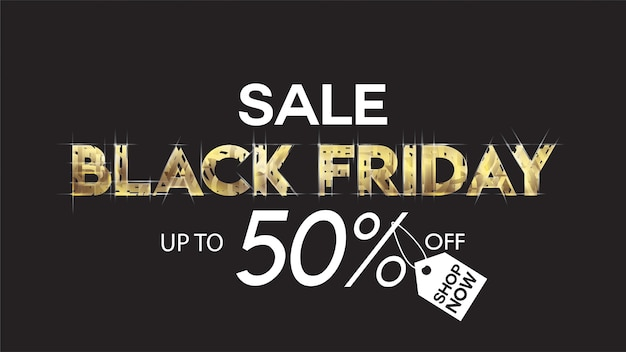 Preto venda sexta-feira banner layout projeto fundo preto e ouro 50% de desconto oferta brochu