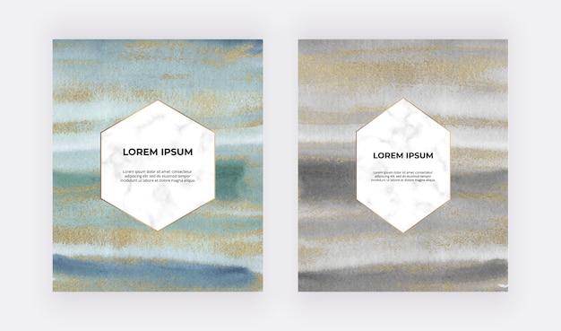 Preto, verde, azul com cartões de traçado de pincel aquarela glitter dourados e quadros de hexágonos de mármore.
