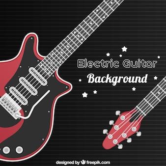 Preto, vermelho, guitarra, fundo