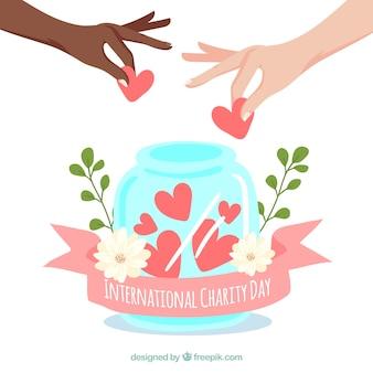 Pretty jar background com corações