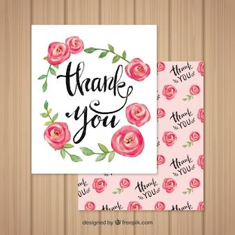 Pretty obrigado cartão de rosas de aquarela
