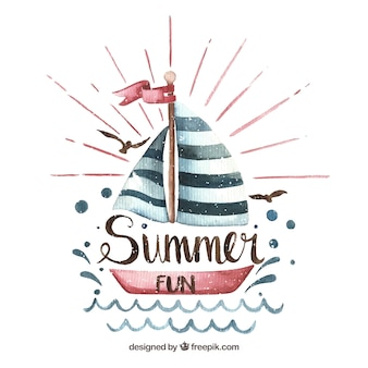 Pretty watercolor boat summer background