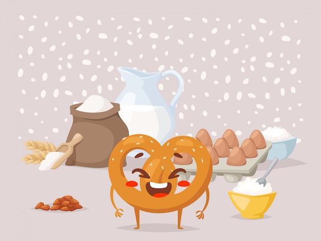 Pretzel receita aula de culinária personagem de desenho animado engraçado rindo lanche pão tradicional