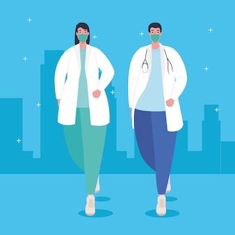 Prevenção covid 19, casal de médicos usando máscara médica contra coronavírus covid19 ilustração