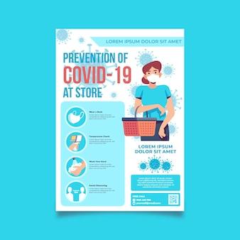 Prevenção covid-19 na loja a5 flyer template