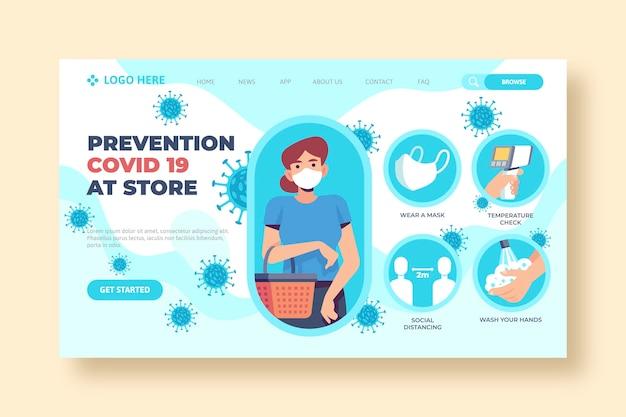 Prevenção covid-19 na página de destino da loja