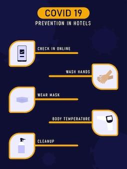 Prevenção covid-19 no layout de modelos de hotéis com protocolos de segurança em fundo azul.