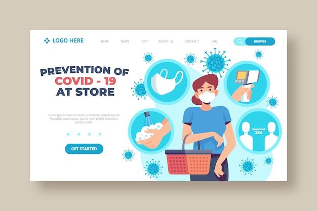 Prevenção covid-19 no modelo da página de destino da loja