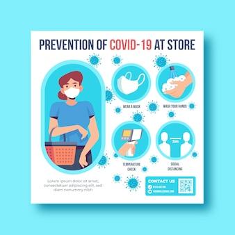 Prevenção covid-19 no panfleto quadrado da loja