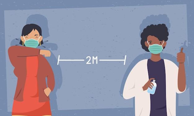 Prevenção covid, casal usando máscara médica em distanciamento do design de ilustração social