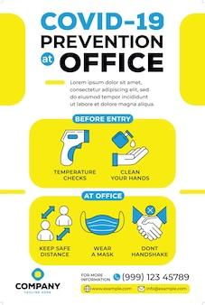 Prevenção covid19 na campanha de pôsteres de escritório