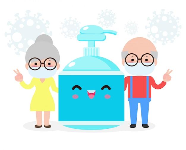 Prevenção de coronavírus, casal sênior e gel de álcool, idosos e proteção contra vírus e bactérias, conceito de estilo de vida saudável, isolado na ilustração de fundo branco