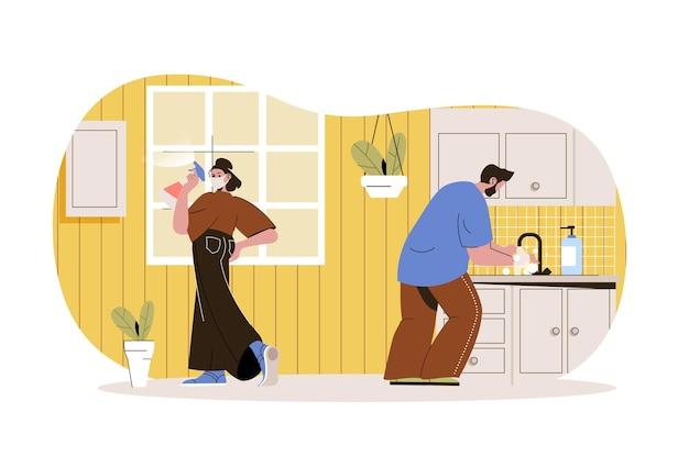 Prevenção de coronavírus conceito web mulher em máscara desinfeta superfícies em casa homem lava