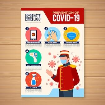 Prevenção de coronavírus em pôster de hotel Vetor grátis