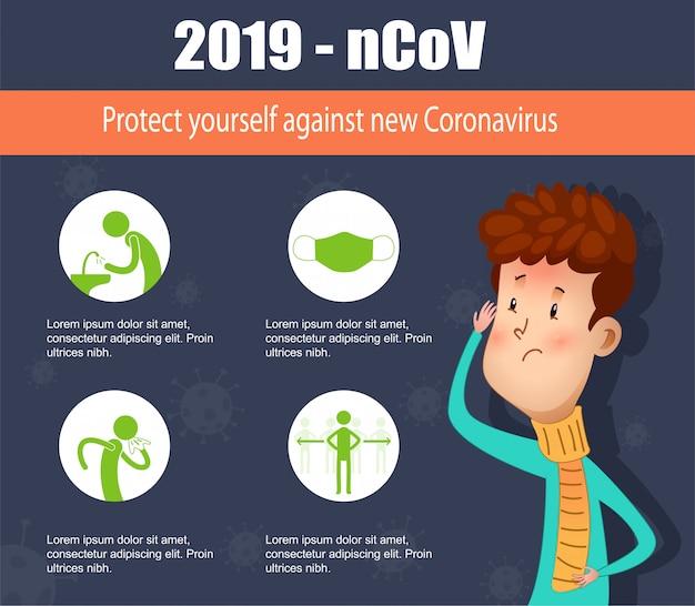 Prevenção de coronavírus infográfico dos desenhos animados. ilustração.