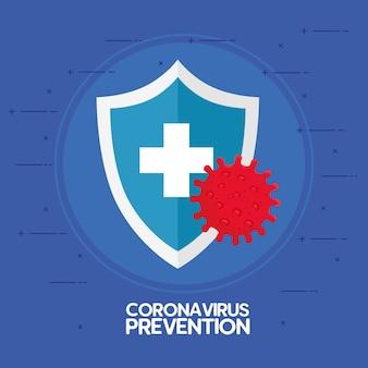 Prevenção de coronavírus, mapa-múndi com ilustração de proteção de escudo