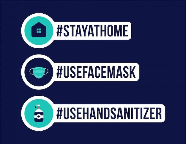 Prevenção de covid-19. crachá de proteção de coronavírus. fique em casa, use máscara facial, desinfetante para as mãos