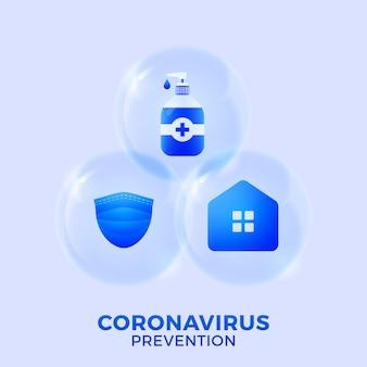 Prevenção de covid-19: fique em casa, use máscara facial, desinfetante para as mãos