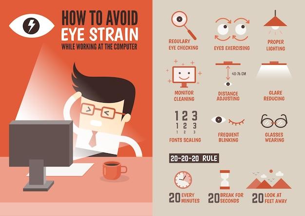 Prevenção de fadiga ocular de infográfico de saúde