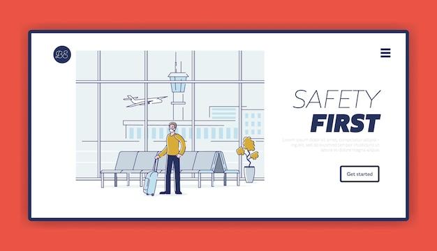 Prevenção e segurança da covid para a saúde do homem do aeroporto