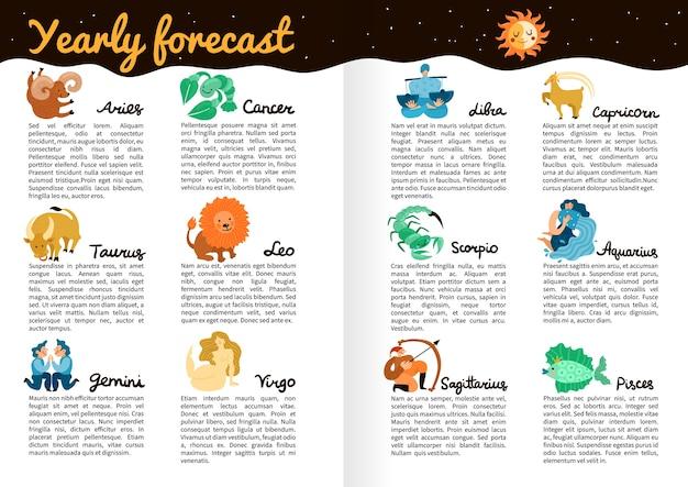 Previsão anual de infográficos de signos do zodíaco nas páginas do livro com ilustração do céu estrelado, lua e sol