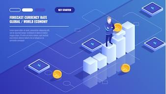 Previsão de taxa de moeda, empresário ficar no gráfico gráfico, diagrama de negócios